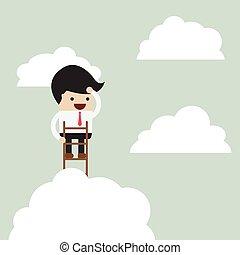 Businessman climbing up a ladder to