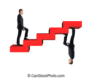 Businessman climbing up model of red stairs with his mirror ...