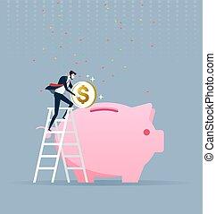 Businessman climbing up on a ladder and putting money into a big piggy bank. Business concept vector