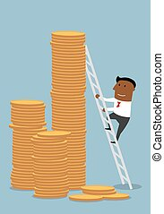 Businessman climbing up to stacks of golden coins