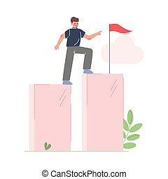 Businessman Climbing up to the Goal on Column of Columns, Moving up Motivation Business Concept Cartoon Vector Illustration