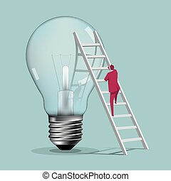 Businessman climbs a huge light bulb from the ladder. The background is blue.