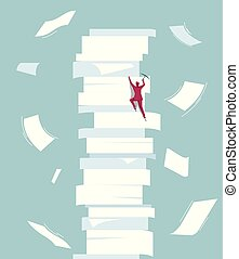 Businessman climbs a pile of documents. Isolated on blue background.