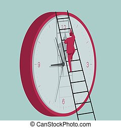 Businessman climbs the clock using a ladder. The background is blue.