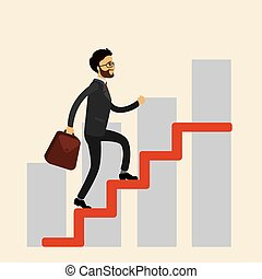 Businessman climbs the stairs,