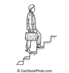 Businessman climbs the stairs sketch engraving vector illustration. T-shirt apparel print design. Scratch board style imitation. Black and white hand drawn image.