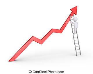 Businessman climbs to top