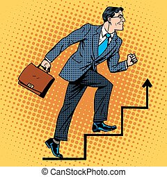 Businessman climbs up the career ladder retro style pop art