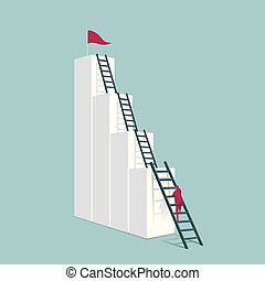 Businessman climbs up the chart using a ladder. Isolated on blue background.