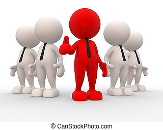 Businessman - 3d people - men, person in team. Leadeship and...