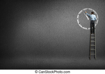 businessman clock painted on the wall