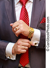 Businessman - Close up of businessman with red tie and...