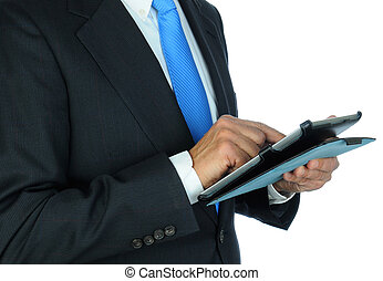 Businessman Closeup Using Tablet Computer