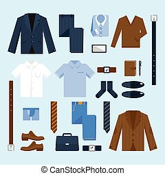Businessman clothes icons set