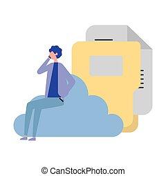 businessman cloud computing folder file