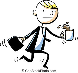 A cartoon businessman on the move spills his coffee.