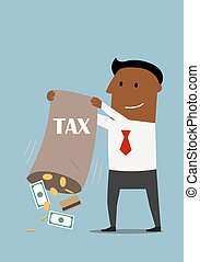 Businessman collecting taxes with bag of money