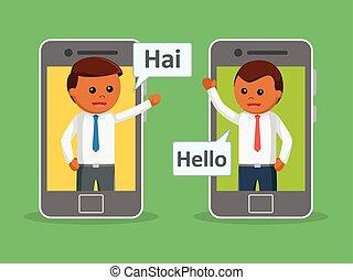 Businessman communication photo text style