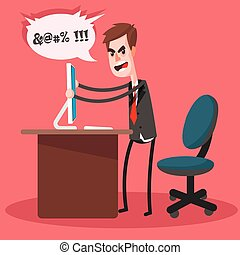 Furious frustrated businessman hitting the computer. Cartoon character. Illustration in the style of the material design.