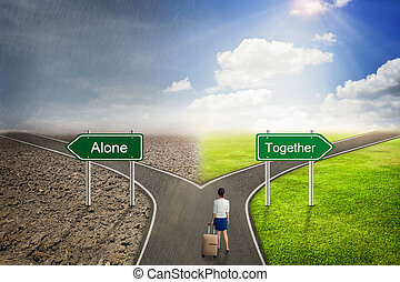 Businessman concept, Alone or Together road to the correct way.