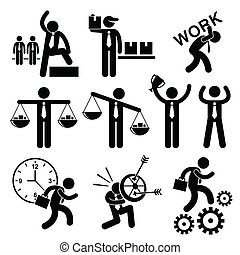 A set of human stick figure representing the concept of business and businessman.