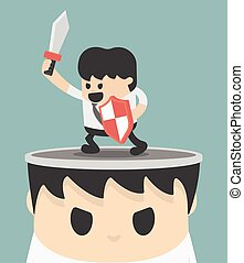 Businessman concept idea of fighting