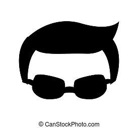 Businessman concept. male person with glasses icon. vector graph