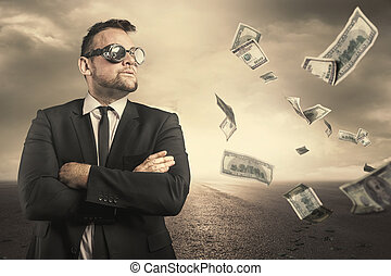 Businessman concept with dollar bills