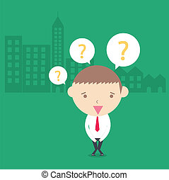 Businessman confuse in city building green background. conceptual cartoon drawing.