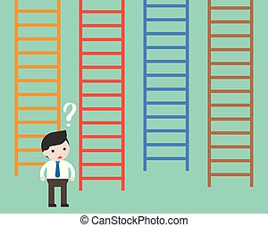 Businessman confused to choosing which ladder, making decision business concept