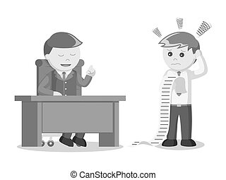 businessman confused with the task of boss black and white color style