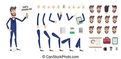 Businessman constructor or male cartoon vector person character creation set. Parts body template for design, game or animation. Back, front, side head. Avatar of a young men with different emotions face. Hand pointing gestures.