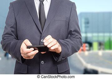 Businessman consulting his agenda
