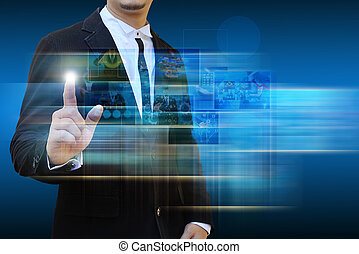 businessman contact Reaching images streaming in hands .Financial and technologies concepts