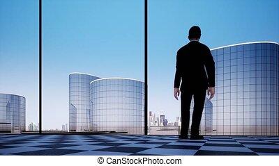 Businessman contemplating next big business deal video concept