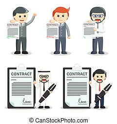 businessman contract set illustration design