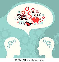 Businessman conversation, process of creating an idea. Successful business and partnership concept