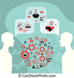 Businessman conversation, process of creating an idea