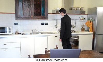 businessman cooking
