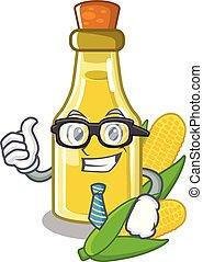 Businessman corn oil put into cartoon bottle
