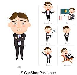 Businessman corporate life flat design 7set-employee