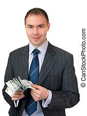 Businessman count cash.