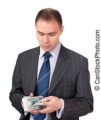 Businessman count cash. Russian ruble.