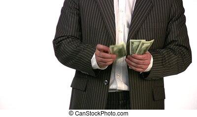 businessman count dollars