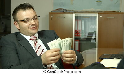 Businessman counting money. Dollar