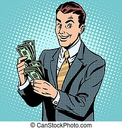 Businessman counting money dollars. Business and Finance