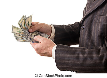 Businessman counts several hundred dollars isolated on white