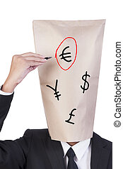 Businessman cover head drawing his face and choose one of ...