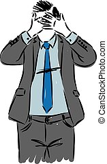 businessman covering his eyes vector illustration