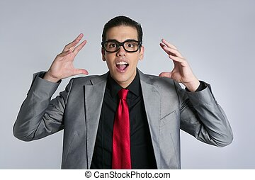 Businessman crazy with funny glasses and suit